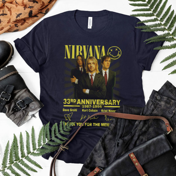 Nirvana 33rd Anniversary 1987-1994 Signatures Thank You For The Memories Shirt, Dave Grohl