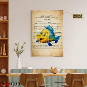 Personalized Little Mermaid Flounder She's In Love Sheet Music Poster Canvas