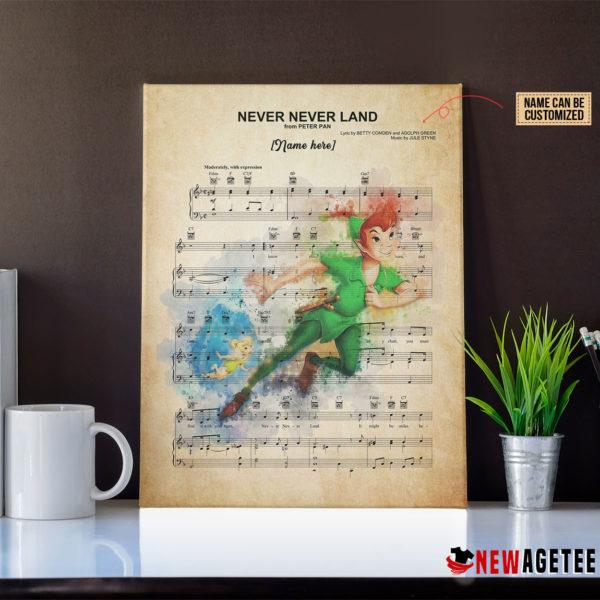 Peter Pan Never Neverland Sheet Music Poster Canvas
