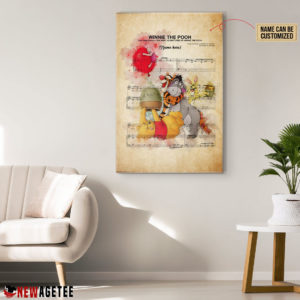 Winnie the Pooh and Friends Sheet Music Poster Canvas