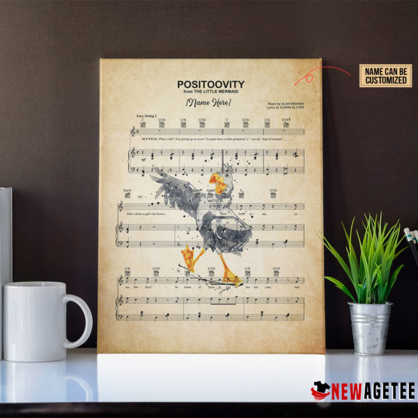 Scuttle The Litte Mermaid Positoovity Sheet Music Poster Canvas