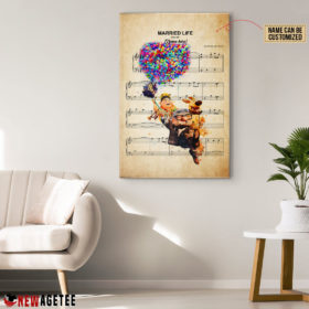 Personalized Carl Russell Dug Up Balloon House Married Life Sheet Music Poster Canvas