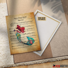 Personalized Little Mermaid Ariel Part of Your World Sheet Music Poster Canvas