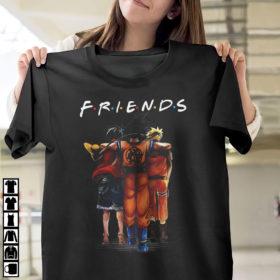 Friends Son Goku mashup Monkey D. Luffy One Piece Anime characters Shirt