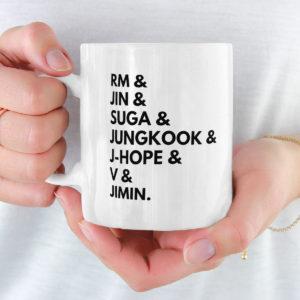BTS Mug, Bangtan Sonyeondan Jungkook Jimin Suga, Jin, Rap Monster, J-Hope