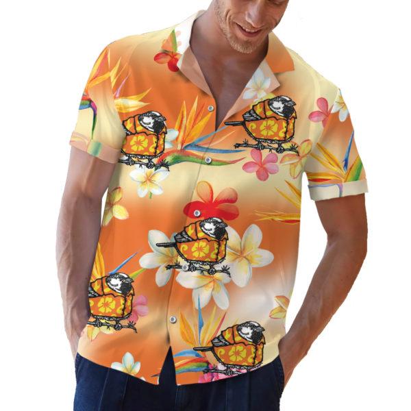 Sparrow wearing an orange hawaiian shirt button up shirt