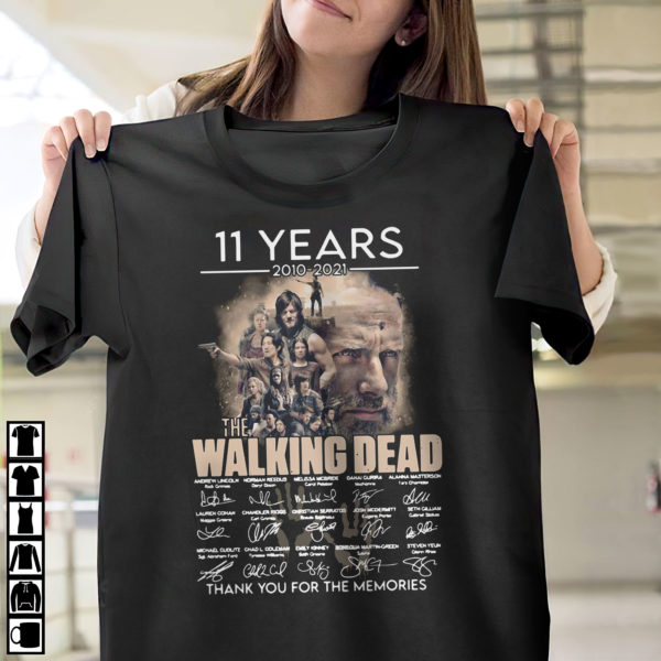 11 Years 2010 2021 The Walking Dead Thank You For The Memories Signatures Shirt, ls, hoodie