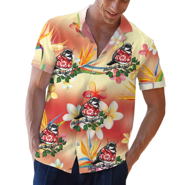 Chickadee in a hawaiian shirt button up shirt