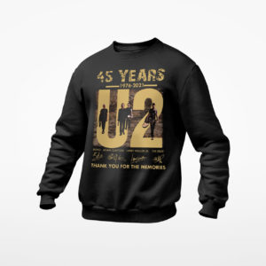 U2 Band 45 Years 1976-2021 Signatures Thank You For The Memories Shirt