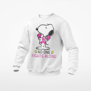 Snoopy No One Fights Alone Breast Cancer Awareness Shirt, ls, hoodie