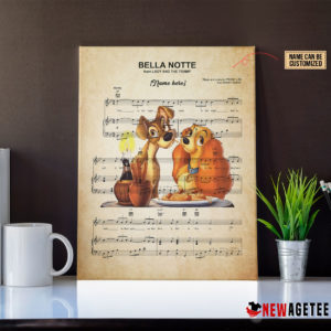 Lady and the Tramp Belle Note Sheet Music Poster Canvas