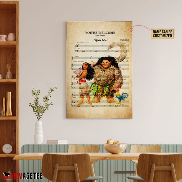 Personalized Moana Maui You're Welcome Sheet Music Poster Canvas