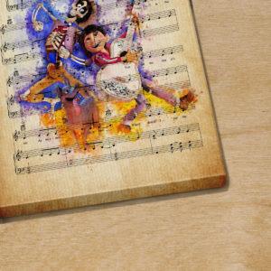 Personalized Coco Miguel and Hector Un Poco Loco Sheet Music Poster Canvas