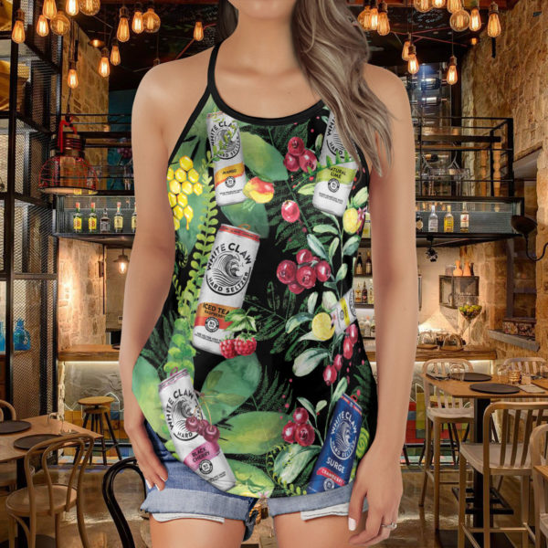 White Claw Criss Cross Open Back Tank Top