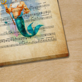 King Triton The Litte Mermaid The World Above Sheet Music Poster Canvas