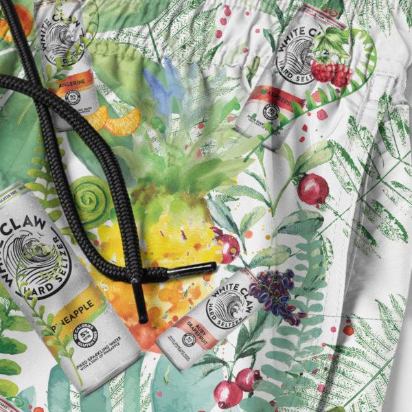 White Claw Hard Seltzer Hawaiian Shirt, Tropical Beach Shorts