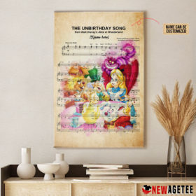 Personalized Alice in Wonderland The Unbirthday Song Sheet Music Poster Canvas