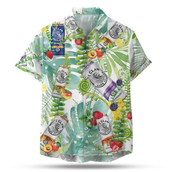 White Claw Hard Seltzer Hawaiian Button Up Shirt, Beach Shorts