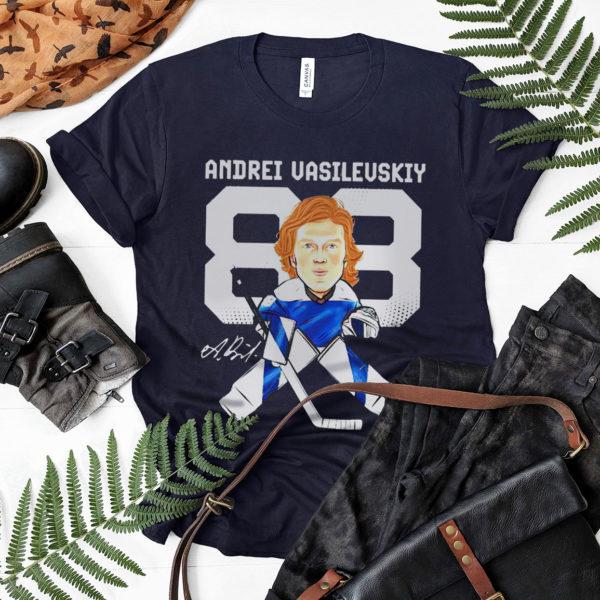 Tampa bay lightning 88 andrei vasilevskiy cartoon signature shirt, ls