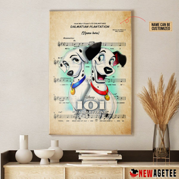 101 Dalmatians Pongo and Perdita over Dalmatian Plantation Sheet Music Poster Canvas