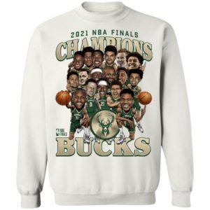 2021 NBA Champions Milwaukee Bucks Caricature Roster T-Shirt, Hoodie