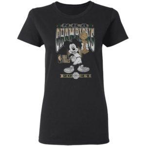 Milwaukee Bucks Junk Food 2021 NBA Finals Champions Mickey Mouse T-Shirt