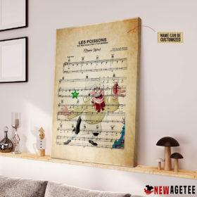 Chef Louis The Litte Mermaid Les Poissons Sheet Music Poster Canvas