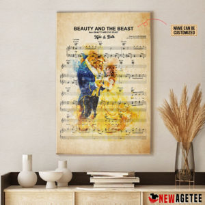 Personalized Belle And Beast Beauty and the Beast Sheet Music Poster Canvas