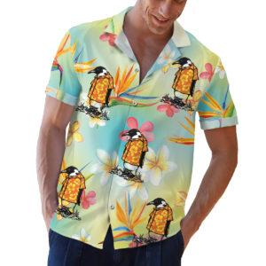 Penguin wearing an orange hawaiian shirt button up shirt