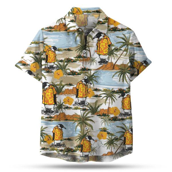 Penguin in a tropical hawaiian shirt button up shirt