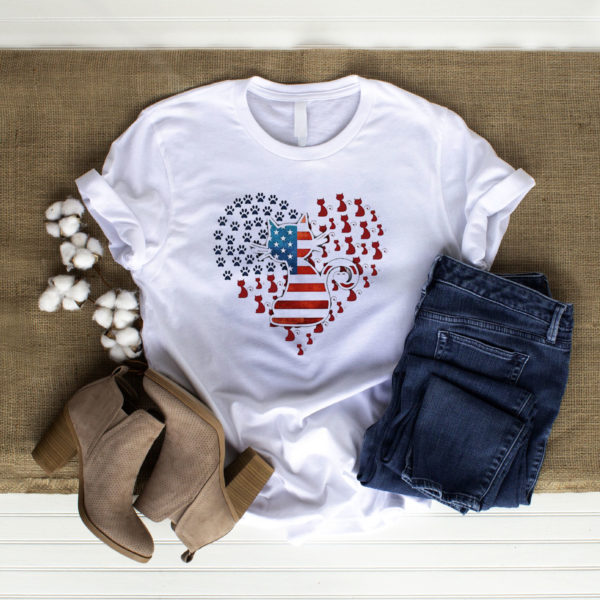 Cat American Heart 4th Of July Shirt, ls, hoodie