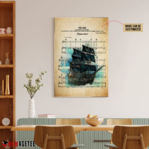 Personalized Pirates of the Caribbean Black Pearl Yo Ho Sheet Music Poster Canvas