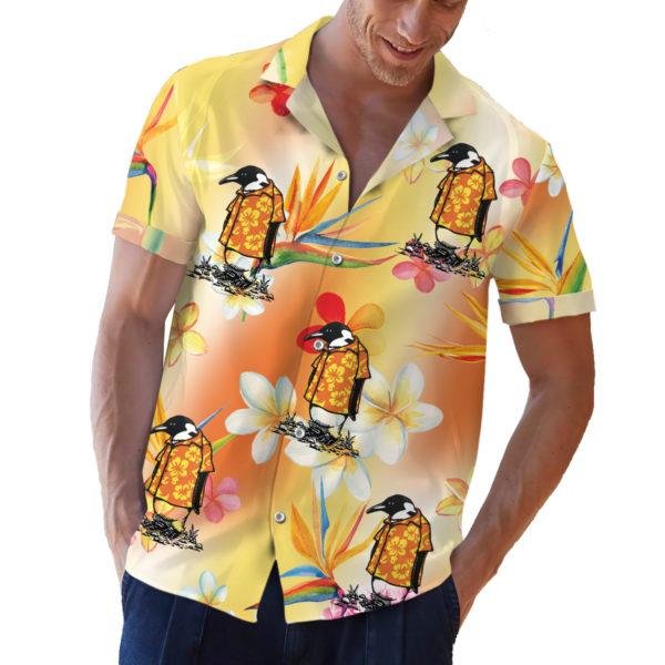 Penguin in a hawaiian shirt button up shirt