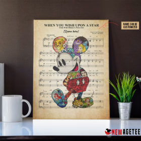 Personalized Mickey Mouse When You Wish Upon A Star Sheet Music Poster Canvas