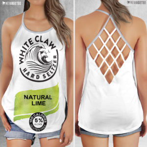 Natural Lime White Claw Glitter Costume Criss Cross Tank Top