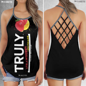 TRULY Can Stawberry Lemonade Hard Seltzer Costume Criss Cross Tank Top