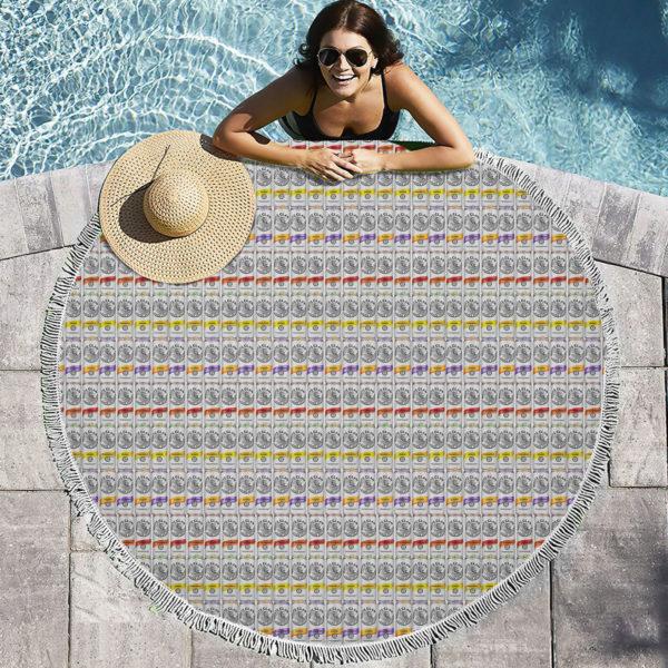 White Claw Round Beach Towel