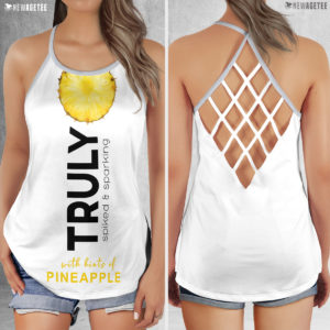TRULY Can Pineapple Hard Seltzer Costume Criss Cross Tank Top