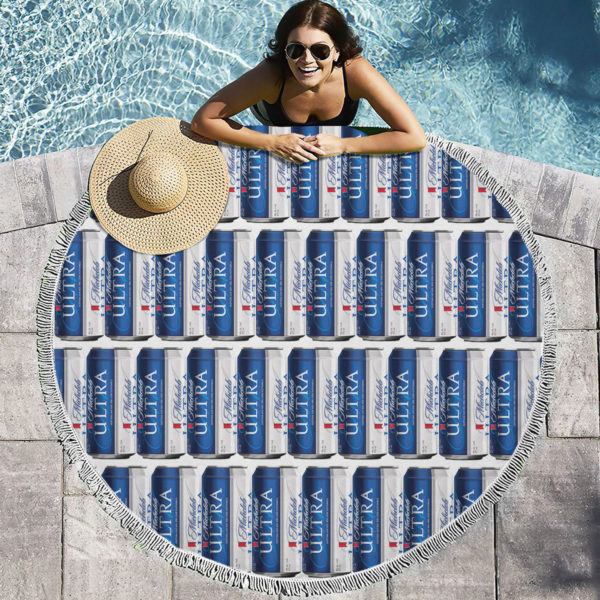 Michelob Ultra Beer Round Beach Towel