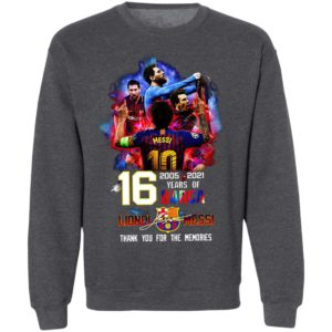 16 Years Of Barcelona 2005 2021 Lionel Messi Signatures Thank You For The Memories Shirt