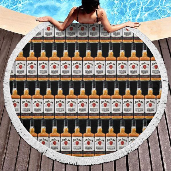 Jim Beam Bourbon Round Beach Towel