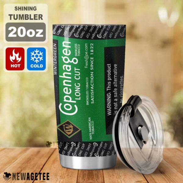 Copenhagen Long Cut Wintergreen Skinny Tumbler Stainless Steel 20oz 30oz