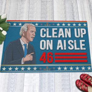 1 Indoor Outdoor Doormat Anti Biden Clean Up On Aisle 46 Impeach Biden Indoor Doormat