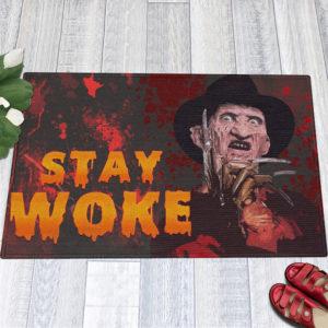 1 Indoor Outdoor Doormat Freddy Stay Woke Horror Halloween Doormat