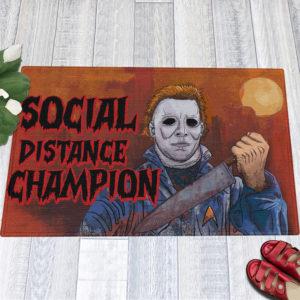 1 Indoor Outdoor Doormat Myers Social Distance Champion Serial Killer Halloween Doormat