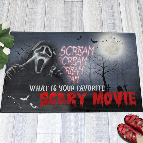 1 Indoor Outdoor Doormat Scream Creepy What Is Your Favorite Scary Movie Halloween Doormat