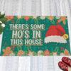 1 Indoor Outdoor Doormat Theres Some Hos in This House Christmas Decoration Santa Hat Doormat