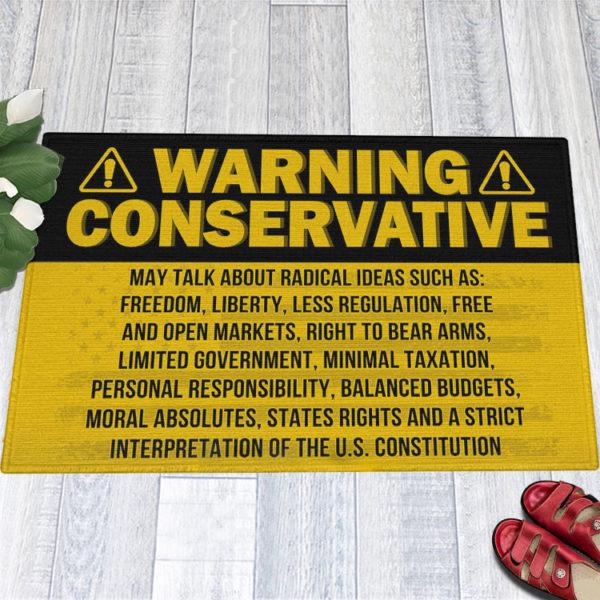 1 Indoor Outdoor Doormat Warning Conservative Funny Political Warning Doormat
