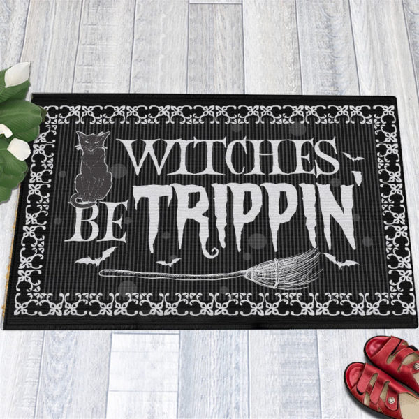 1 Indoor Outdoor Doormat Witches Be Trippin Witches Halloween Doormat