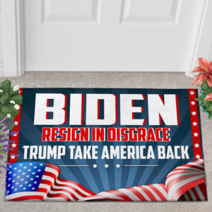 2 Outdoor Door Mat Biden Resign In Disgrace Trump Take American Back Outdoor Indoor Doormat